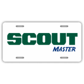 Scout Master - White BG License Plate