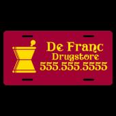 Drugstore License Plate