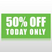 50 Percent Off Sale Banner