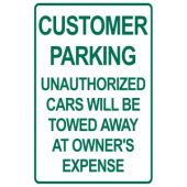 Customer Parking - Unauthorized Will Be Towed