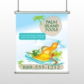 Palm Island Pool 534 Hanging Banner