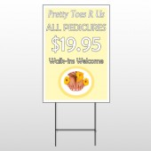 Yellow Pedicure 294 Wire Frame Sign
