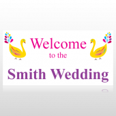Colorful Birds Welcome To The Wedding Banner