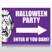 Halloween Party Sign With Arrow Sign Panel