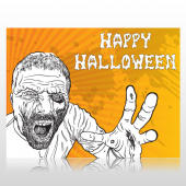 Happy Halloween Zombie Sign Panel