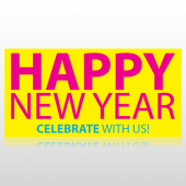 Happy New Year Celebrate With Us Banner