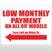 Low Monthly Left 117 Custom Sign