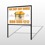 Animated House Family 251 H-Frame Sign