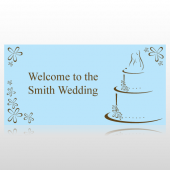 Blue & Brown Welcome To The Wedding Banner