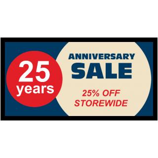 25 Years Anniversary Sale 25% OFF Storewide
