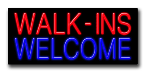 "WALK-INS WELCOME 13""H x 32""W Neon Sign"