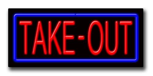 "TAKE-OUT 13""H x 32""W Neon Sign"