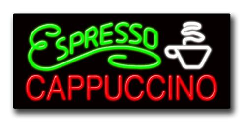 """ESPRESSO CAPPUCCINO 13""""H x 32""""W Neon Sign"""