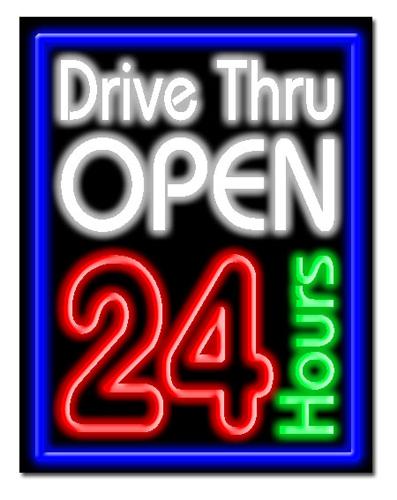 """DRIVE-THRU OPEN 24HRS 24""""W x 31""""H Neon Sign"""