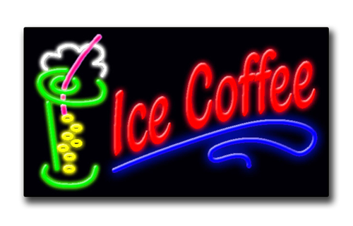 "ICE COFFEE 20""H x 37""W Neon Sign"