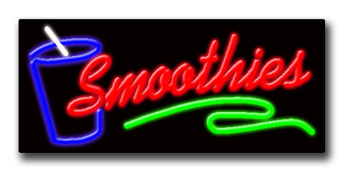 """SMOOTHIES 13""""H x 32""""W Neon Sign"""