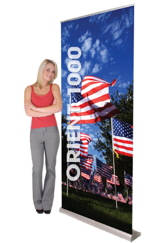 "Kit- ONT1000 Retractable Banner Stand & Anti-Curl Banner 39.25""W x 84""H"