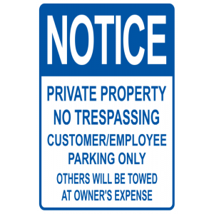 Blue Private Notice Towed