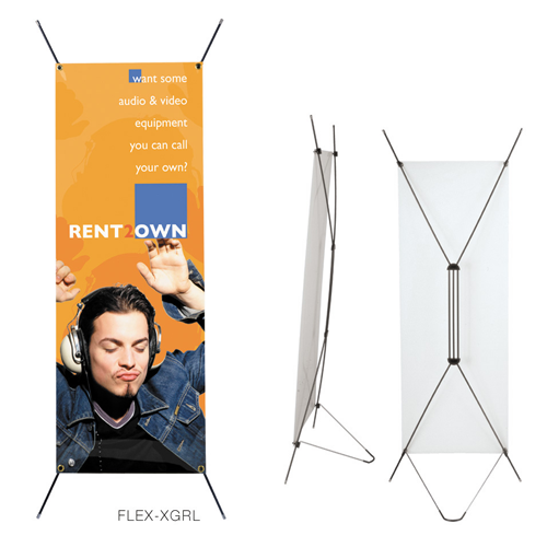 "FLEX-X Kit- Stand & Gloss Poly Banner 23.5""W x 62.7""H"
