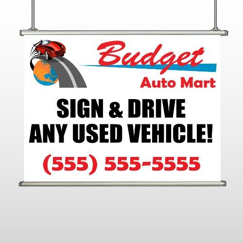 Budget Auto Mart 116 Hanging Banner