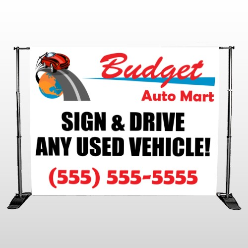 Budget Auto Mart 116 Pocket Banner Stand
