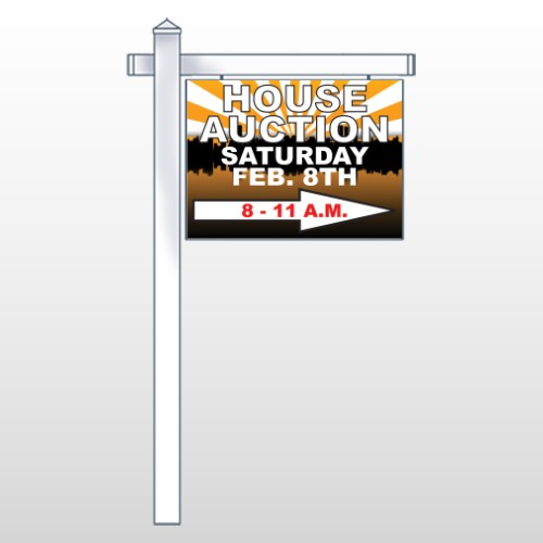 "Auction Right Arrow 717 18""H x 24""W Swing Arm Sign"