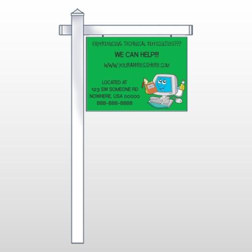 "Cartoon Computer 431 18""H x 24""W Swing Arm Sign"