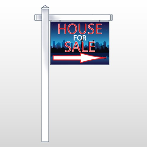 "House Sale Night City 713 18""H x 24""W Swing Arm Sign"