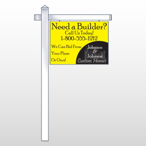 """Yellow House 216 18""""H x 24""""W Swing Arm Sign"""