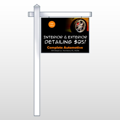 """Detailing Services 115 18""""H x 24""""W Swing Arm Sign"""