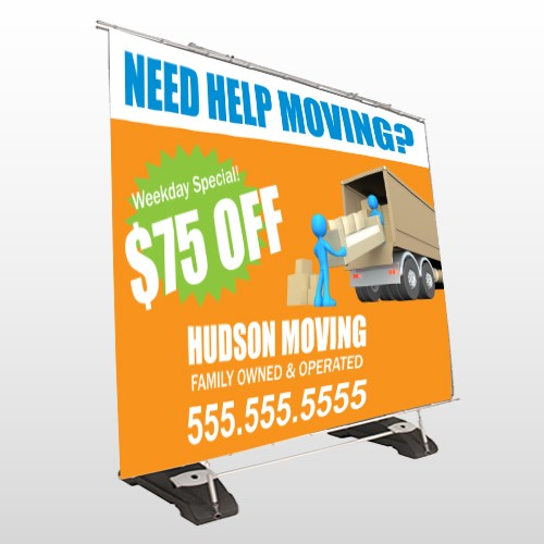 Blue Moving 294 Exterior Pocket Banner Stand