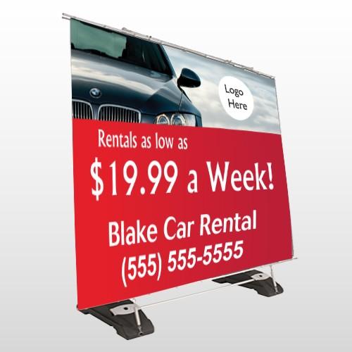 Car Rental 112 Exterior Pocket Banner Stand