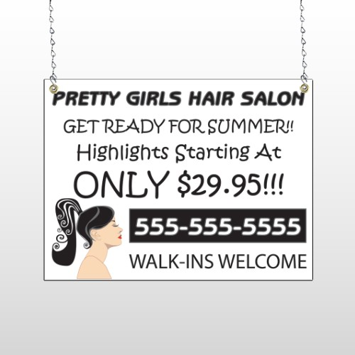 Pretty Girl Hair 290 Window Sign