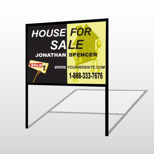 Gold Puzzle House 864 H-Frame Sign