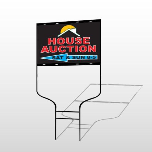 Auction Left Arrow 728 Round Rod Sign