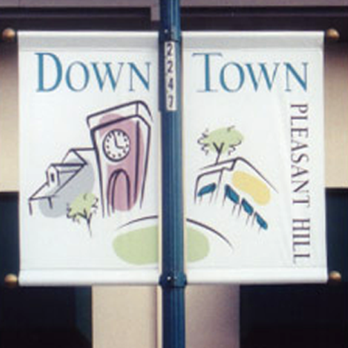 "Pole Banner Kit- Pole Mount & Wind Mesh Banner 36""W x 36""H"
