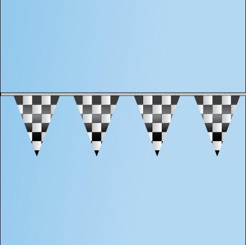 Pennant Black, White, Checkered 100' String