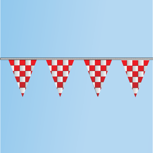 Pennant Red, White, Checkered 100' String