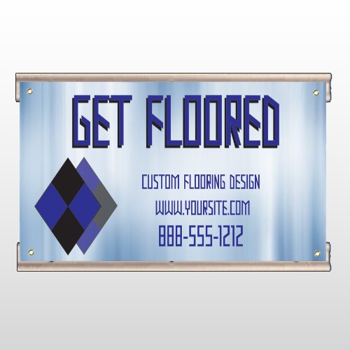 Blue Checker 249 Track Banner