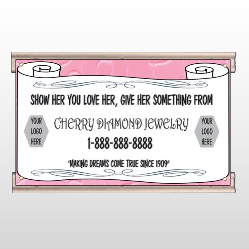 Scroll Pink Heart 397 Track SignTemplate