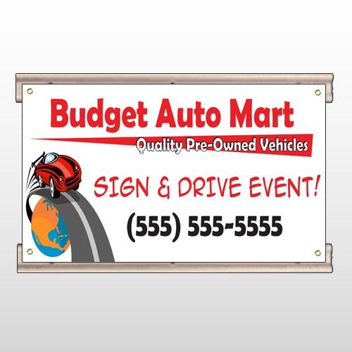 Budget Auto Mart 116 Track Sign