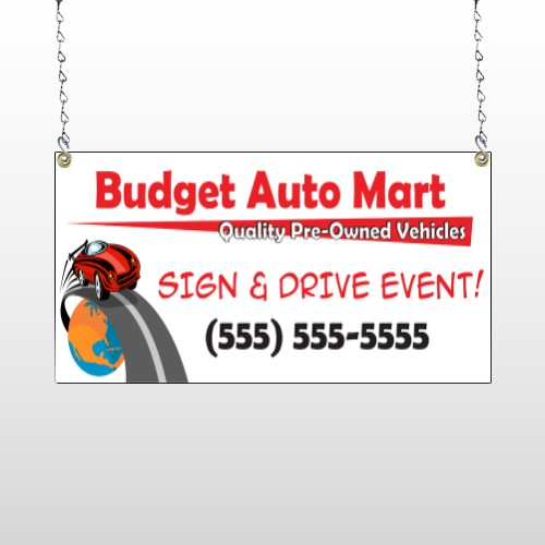 Budget Auto Mart 116 Window Sign