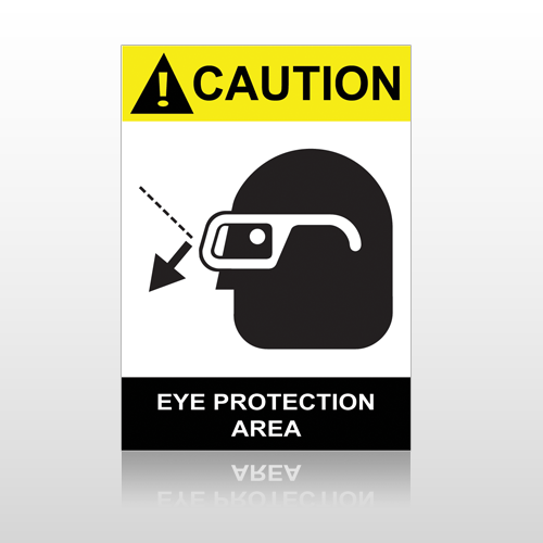 ANSI Caution Eye Protection Area