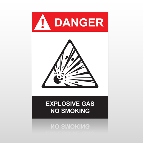 ANSI Danger Explosive Gas No Smoking