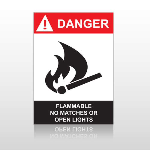 ANSI Danger Flammable No Matches Or Open Lights