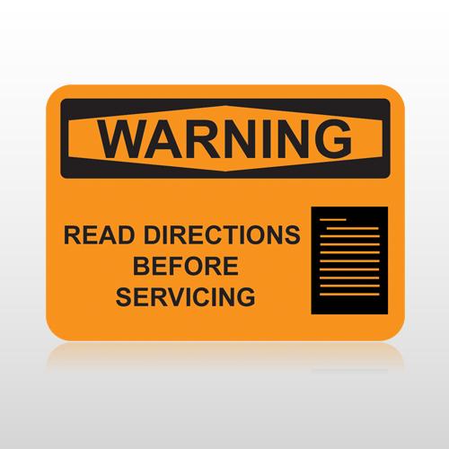 OSHA Warning Read Directions Before Servicing