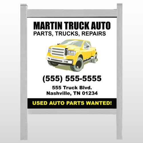 """Black & Yellow Truck 117 48""""H x 48""""W Site Sign"""