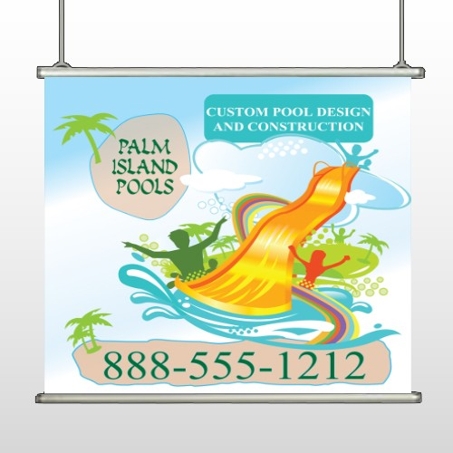 Palm Island Pool 534 Hanging Banner