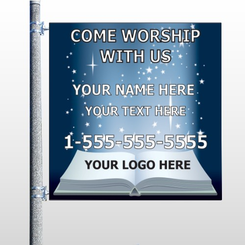 Worship With Us 02 Pole Banner