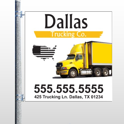 Yellow Truck 296 Pole Banner